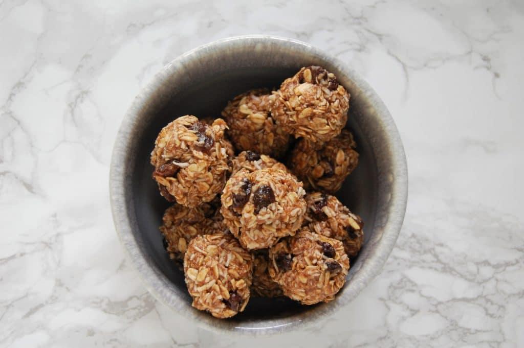 Oatmeal Raisin Cookie Energy Balls Overhead