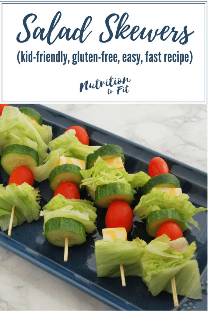 These salad skewers are an easy, fun, hand-held way for the whole family to enjoy their greens! It's a perfect summertime, picnic food. Get this and more easy, fun, healthy recipes at @nutritiontofit.