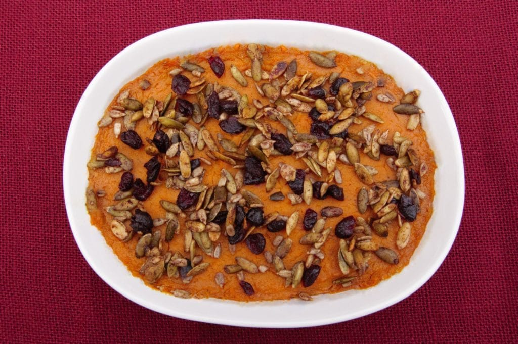 This recipe for Nut-Free Sweet Potato Casserole is a delicious holiday crowd-pleaser without nuts or any of the eight major food allergens!