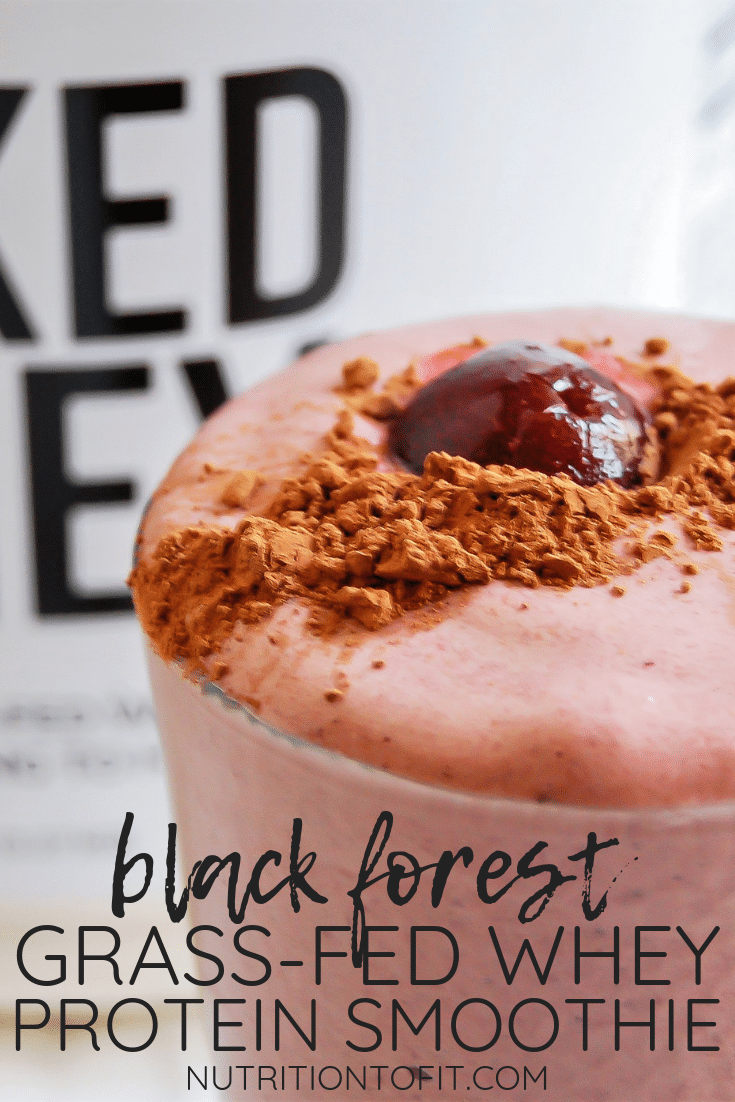 Meet your cravings with this black forest grass-fed whey protein smoothie - a satisfying, sweet, high-protein smoothie! #sponsored by Naked Nutrition Grass-Fed Whey Protein Powder