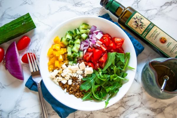 Dive into Greek lentil power bowls for an easy meal prep healthy dinner recipe (or lunch!) that's tasty, vegetarian, and gluten-free.