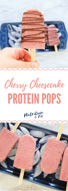 Cherry Cheesecake Protein Pops are a healthy treat recipe, easy to make with just four ingredients! This is a refreshing treat packed with fruit and protein, perfect for the whole family this summertime! | recipe, healthy recipe, healthy dessert, protein dessert, easy recipe, cherries, cheesecake, popsicle, nutrition, dietitian |