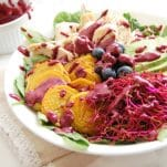 This Golden Beet Kale Salad with Blueberry Lime Dressing is an easy, healthy salad recipe. This salad is colorful, vibrant, nutritious, delicious, and can easily be part of meal prep so it can be enjoyed fast. For this recipe and more like it check out @nutritiontofit.