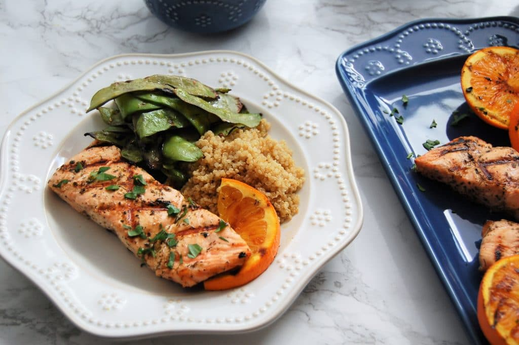Grilling salmon has never been easier with this four ingredient orange herb marinade. Get the recipe for this healthy, delicious, summer meal at @nutritiontofit.