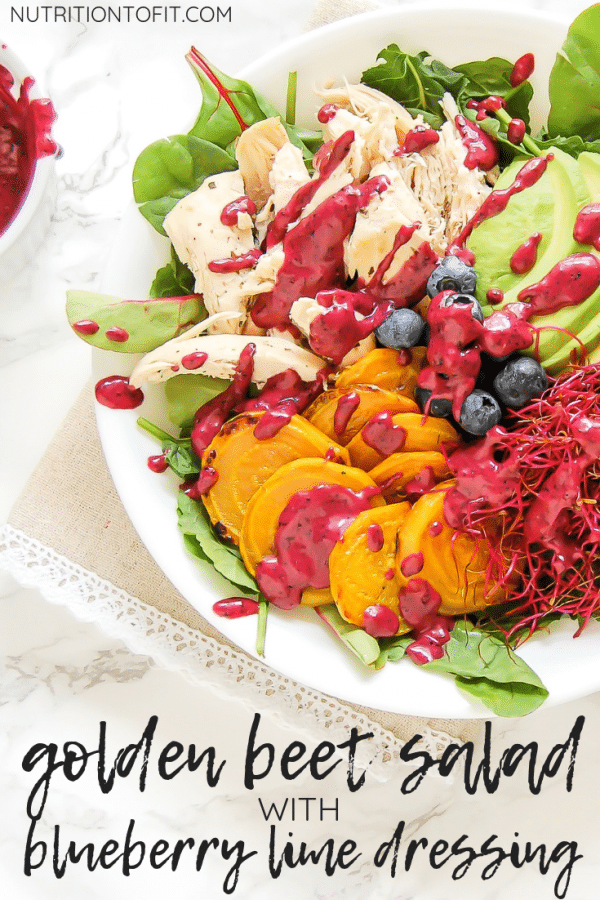 This golden beet salad with blueberry lime dressing is a colorful, healthy salad recipe that is packed with nutrition and flavor! It's a great recipe for leftover rotisserie chicken.