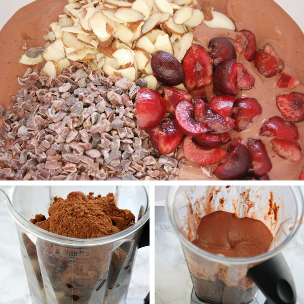 This Chocolate Cherry Almond Nice Cream recipe is a perfect summer treat. Fresh, sweet, cold, and delicious, it has no added sugar, is dairy-free and gluten-free! Get the recipe and others like it @nutritiontofit.