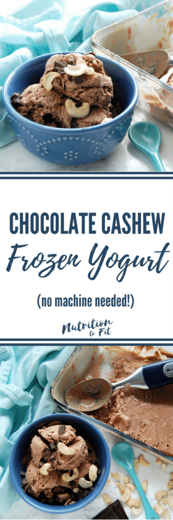 This easy frozen treat is a no-churn frozen yogurt with just four ingredients. Get the Chocolate Cashew Frozen Yogurt recipe from Nutrition to Fit today!