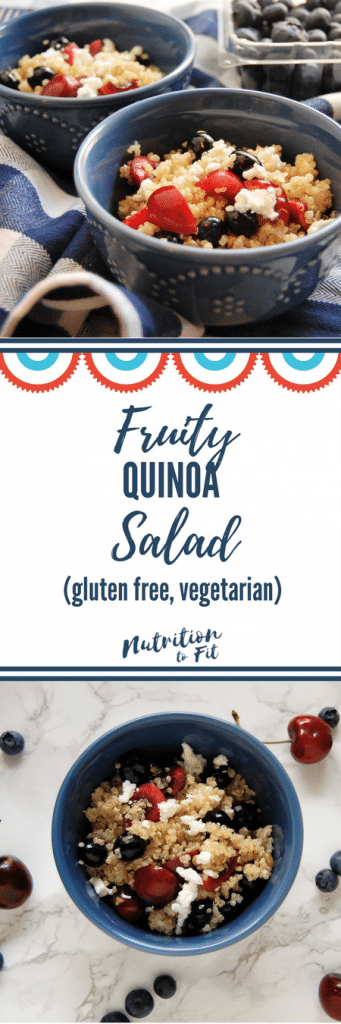 This summertime, festive salad is a perfect picnic side dish. The Fruity Quinoa Salad recipe is easy, gluten-free, has no added sugars, and is delicious. Get the recipe and others like it from @nutritiontofit.