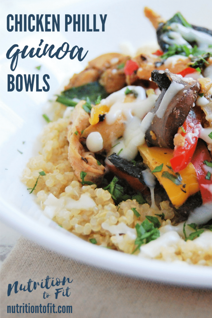 Easy and customizable Chicken Philly Quinoa Bowl weeknight dinner