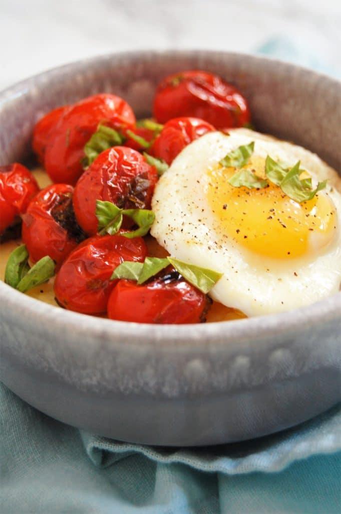 Blistered Tomato Basil Yogurt Whipped Polenta Bowl