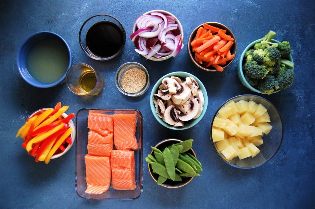 Sheet Pan Pineapple Salmon Stir Fry