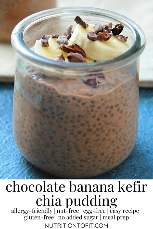 Pinterest graphic of chocolate banana kefir chia pudding