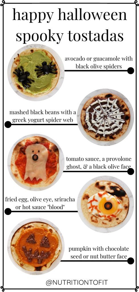 "Pinterest graphic ""happy halloween spooky tostadas"" showing all five variations of halloween tostadas"