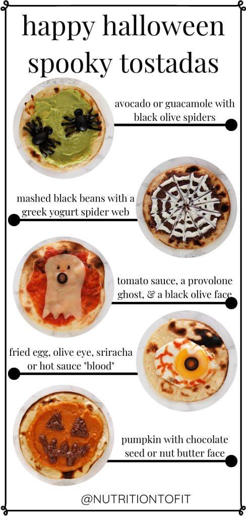 "Pinterest graphic ""happy halloween spooky tostadas"" showing all five variations of halloween tostadas"