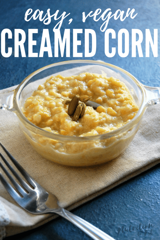 This plant-based creamed corn is a super easy Thanksgiving side dish. It can be made quickly before the main meal, or made in advance and reheated. It's also free of the top food allergens (including gluten free, dairy free, nut free, soy free, etc.) making it a Thanksgiving side dish the whole family can enjoy!