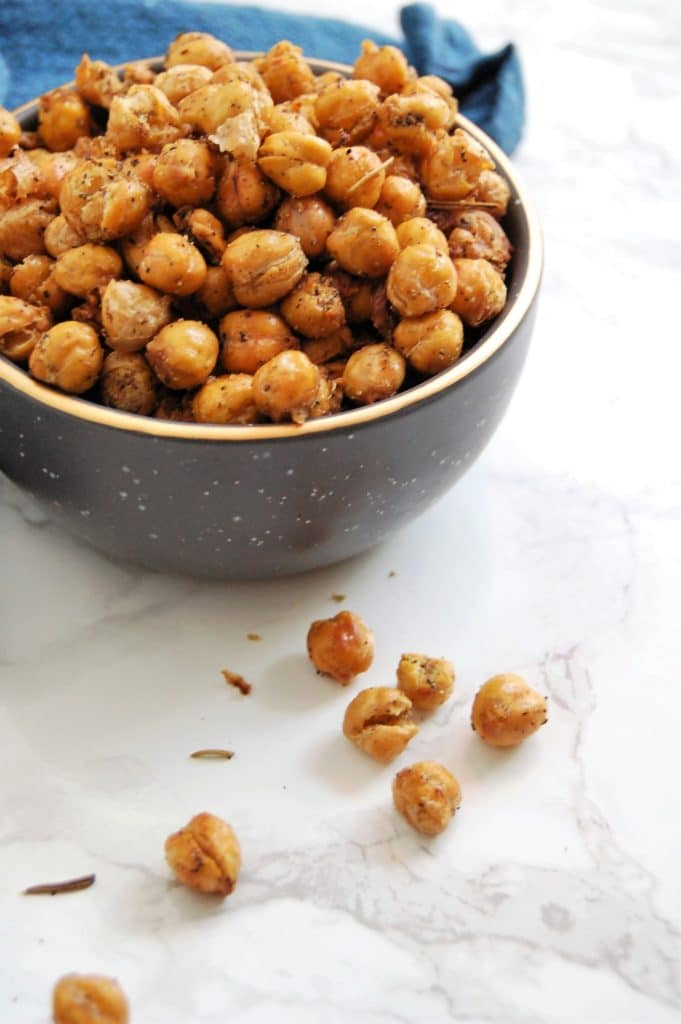 Rosemary Cumin Roasted Chickpeas make a delicious, crunchy, fiber-filled snack or appetizer. They're easy to make and very food allergy-friendly.
