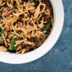 This Green Bean Casserole makes a perfect Thanksgiving side dish the whole family can enjoy. It has less than 10 ingredients, is vegan, easy, and very food allergy-friendly.