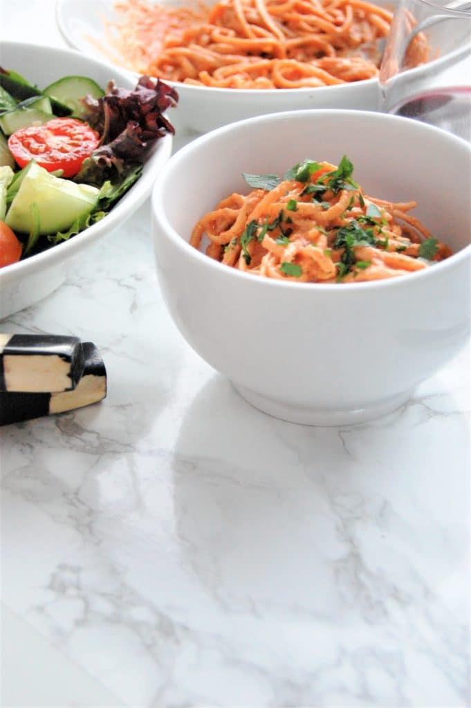 This nut-free Romesco sauce takes a slight spin on the traditional sauce with almonds, using hemp seeds instead.