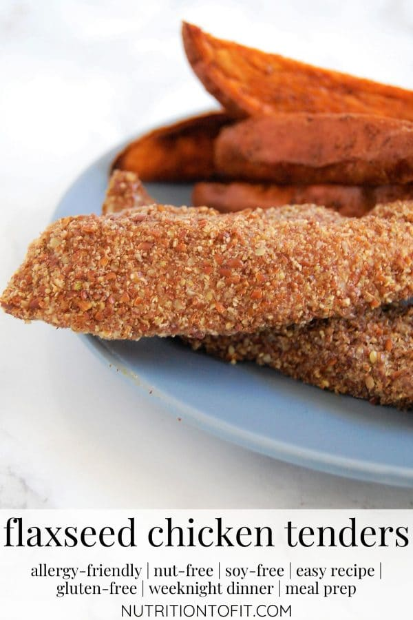 flaxseed chicken tenders on a blue plate with sweet potato wedges