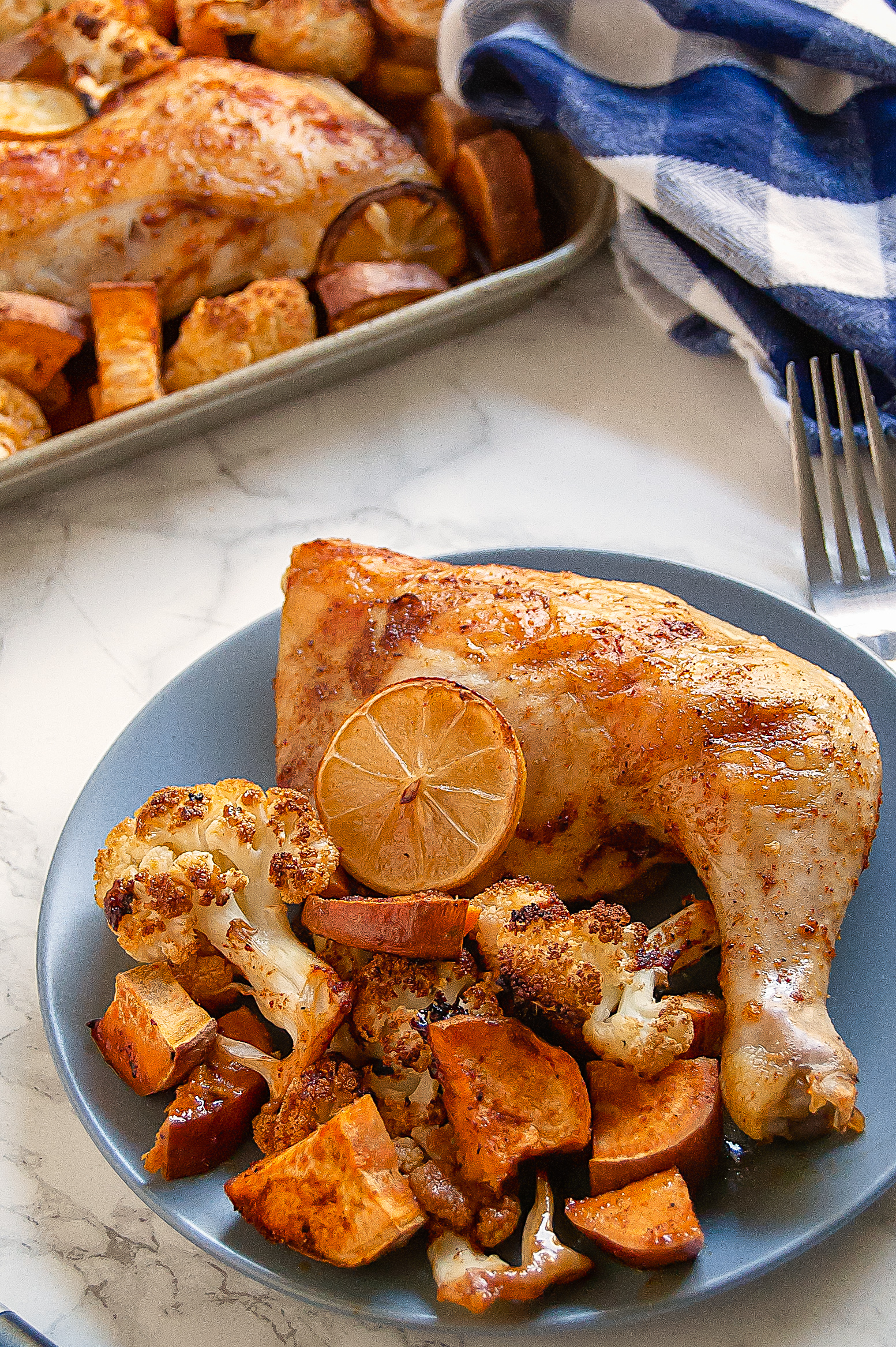 Smoky Spiced Lemon Chicken Leg Quarters are an affordable, flavorful sheet pan dinner. Little hands-on time for an easy weeknight dinner. Naturally gluten-free, dairy-free, and free of all other top 8 most common food allergens.