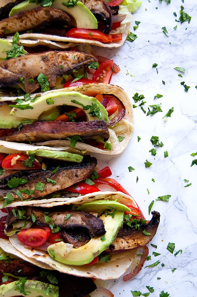 Adobo Lime Portobello Tacos are sheet pan tacos that make an easy, healthy weeknight dinner the whole family will love. They're vegan, gluten-free, dairy-free, soy-free, and easily modifiable for most food allergies and sensitivities.