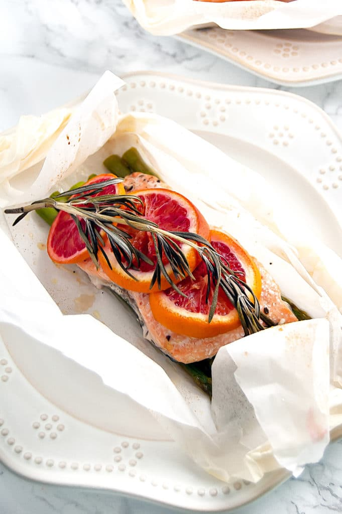 Blood Orange Rosemary Salmon en Papillote is a simple, yet sophisticated salmon dinner for two, perfect for a romantic date night in or Valentine's Day.