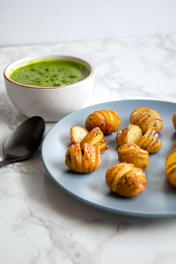 Hasselback Baby Potatoes with Orange Basil Pesto are a sophisticated, flavorful, fresh, yet simple side dish. They're gluten-free, dairy-free, nut-free, soy-free, and vegan.