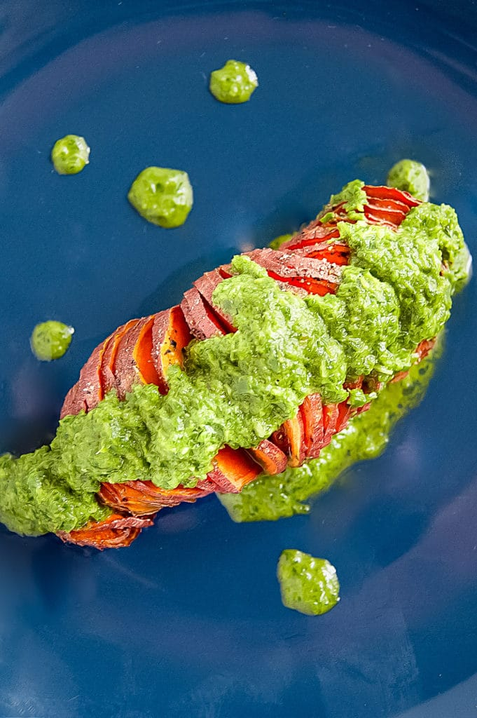 Hasselback Sweet Potatoes with Orange Basil Pesto are a sophisticated, flavorful, fresh, yet simple side dish. They're gluten-free, dairy-free, nut-free, soy-free, and vegan.