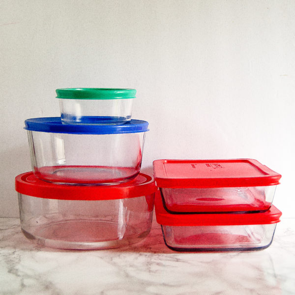 Glass storage containers are an easy swap for plastic containers wen you're aiming to spring clean your kitchen.