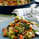 Simple, fresh ingredients make up this plant-based Vegetable Herb Quinoa Pilaf with Crunchy, Roasted Turmeric Chickpeas. It's a light, flavorful springtime dinner! | gluten-free, dairy-free, vegan, plant-based, egg-free, nut-free | Nutrition to Fit