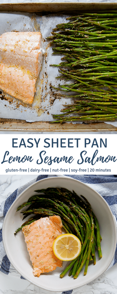 This Easy Sheet Pan Lemon Sesame Salmon is an easy weeknight dinner that takes under 20 minutes from start to finish! | gluten-free, soy-free, nut-free, egg-free, dairy-free | Nutrition to Fit