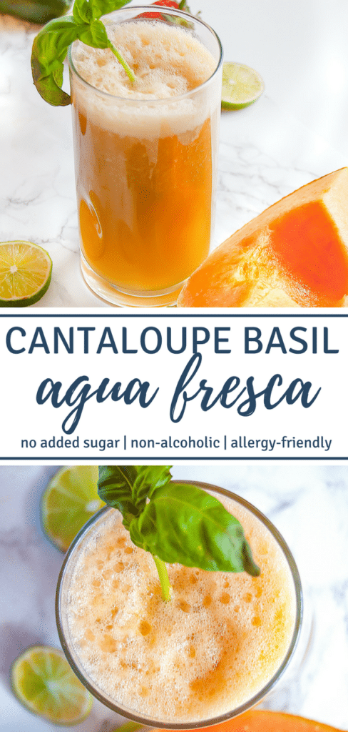Cantaloupe Basil Agua Fresca is a refreshing summer beverage of blended fruit, water, lime, and mint. Perfect for Cinco de Mayo and summertime festivities!