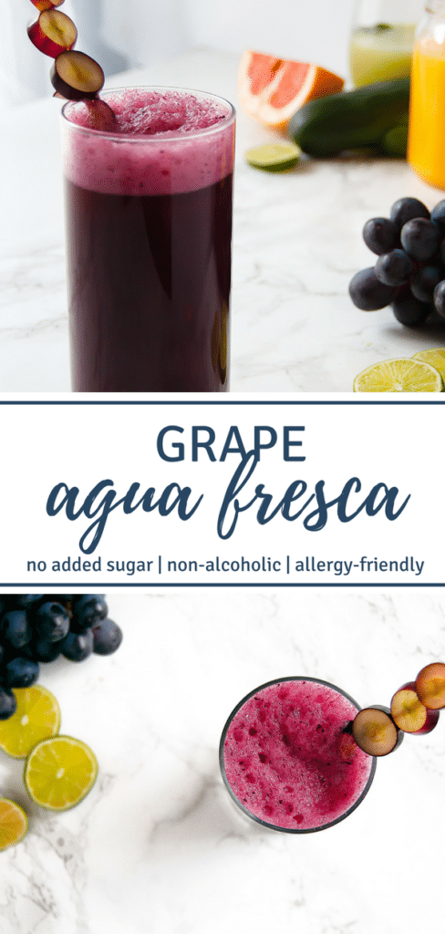 Grape Agua Fresca is a refreshing summer beverage of blended grapes, water, and lime. It's perfect for Cinco de Mayo and summertime festivities!