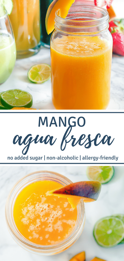 Mango Agua Fresca is a refreshing summer beverage of blended fruit, water, lime, and mint. Perfect for Cinco de Mayo and summertime festivities.