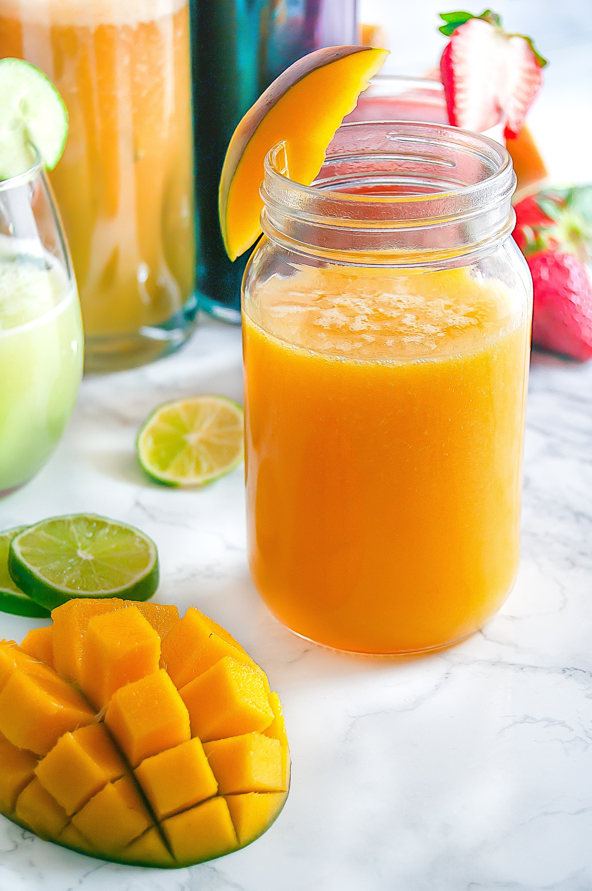 Mango Agua Fresca is a refreshing summer beverage of blended fruit, water, and lime. Perfect for Cinco de Mayo and summertime festivities.