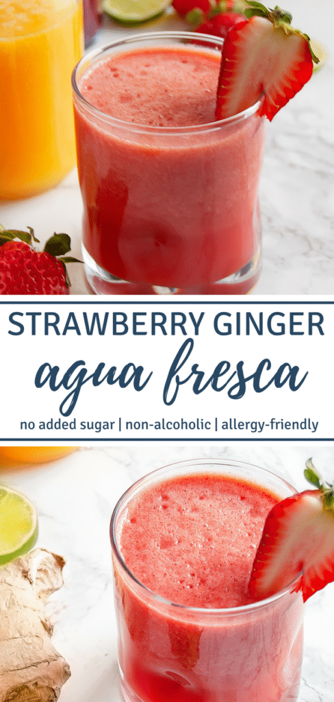 Strawberry Ginger Agua Fresca is a refreshing summer beverage of blended fruit, water, lime, and a subtle kick from the ginger. Perfect for Cinco de Mayo and summertime festivities!