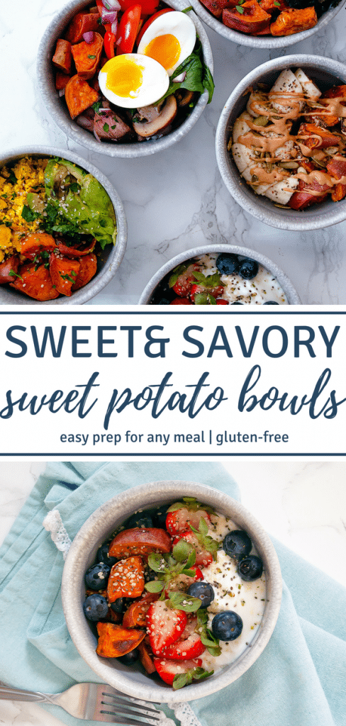 Easy, healthy breakfast, lunch, or dinner inspiration with sweet & savory sweet potato bowls! | gluten-free, dairy-free, tree nut-free, peanut-free, soy-free | Nutrition to Fit