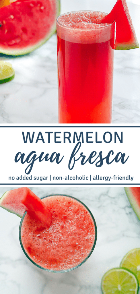 Images of Watermelon Agua Fresca with text stating Watermelon Agua Fresca