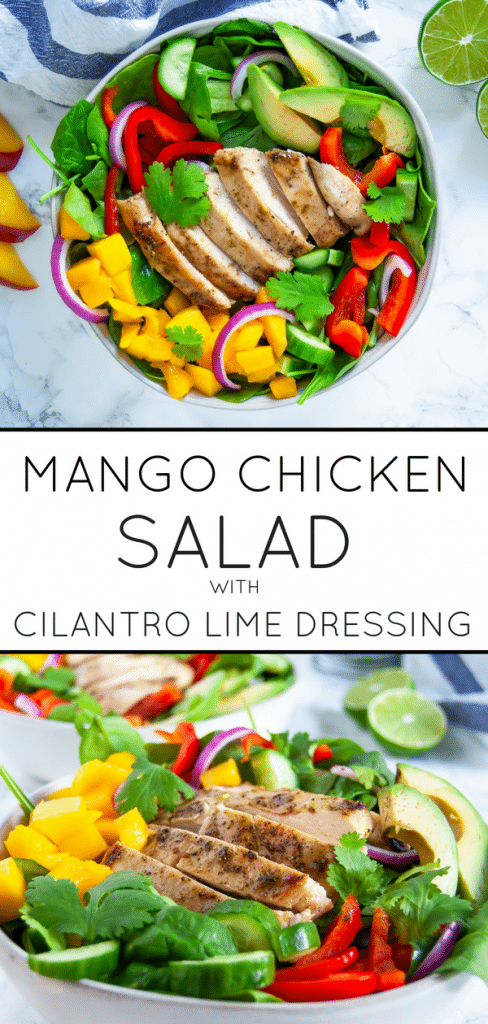 This mango chicken salad with cilantro lime dressing is a fresh and flavorful salad perfect to keep you energized in warmer months. Naturally gluten-free and dairy-free, this mango chicken salad is full of protein, fiber, vitamin A, vitamin C, and antioxidants.