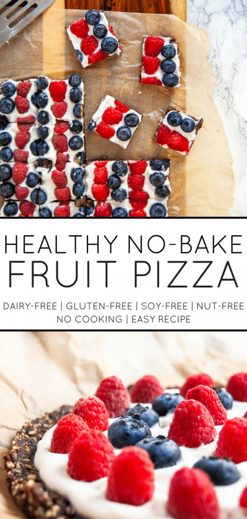 A delicious, no-bake fruit pizza recipe that's made with simple, fresh ingredients. It's a perfect summer dessert that's easy to make, too!
