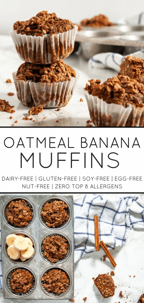 Wholesome oatmeal banana muffins are delicious and a perfect way to use up those brown bananas on your counter! gluten-free, nut-free, soy-free, egg-free, dairy-free, vegan