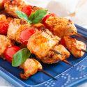 Tomato Basil Chicken Kebabs