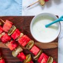 Grilled Watermelon Skewers with Yogurt Lime Sauce