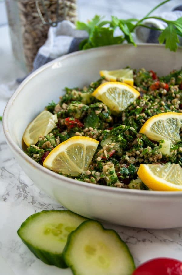 Naturally gluten-free and grain-free, this sunflower seed tabbouleh salad offers a fun and healthy variation packed with texture and fresh flavors.