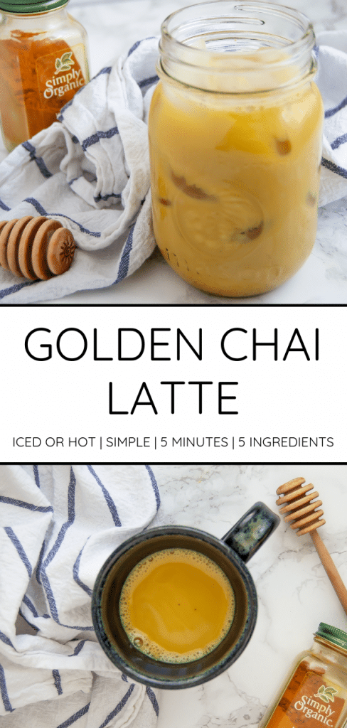 This golden chai latte makes a subtly sweet and spicy cozy drink that tastes amazing warm or iced!