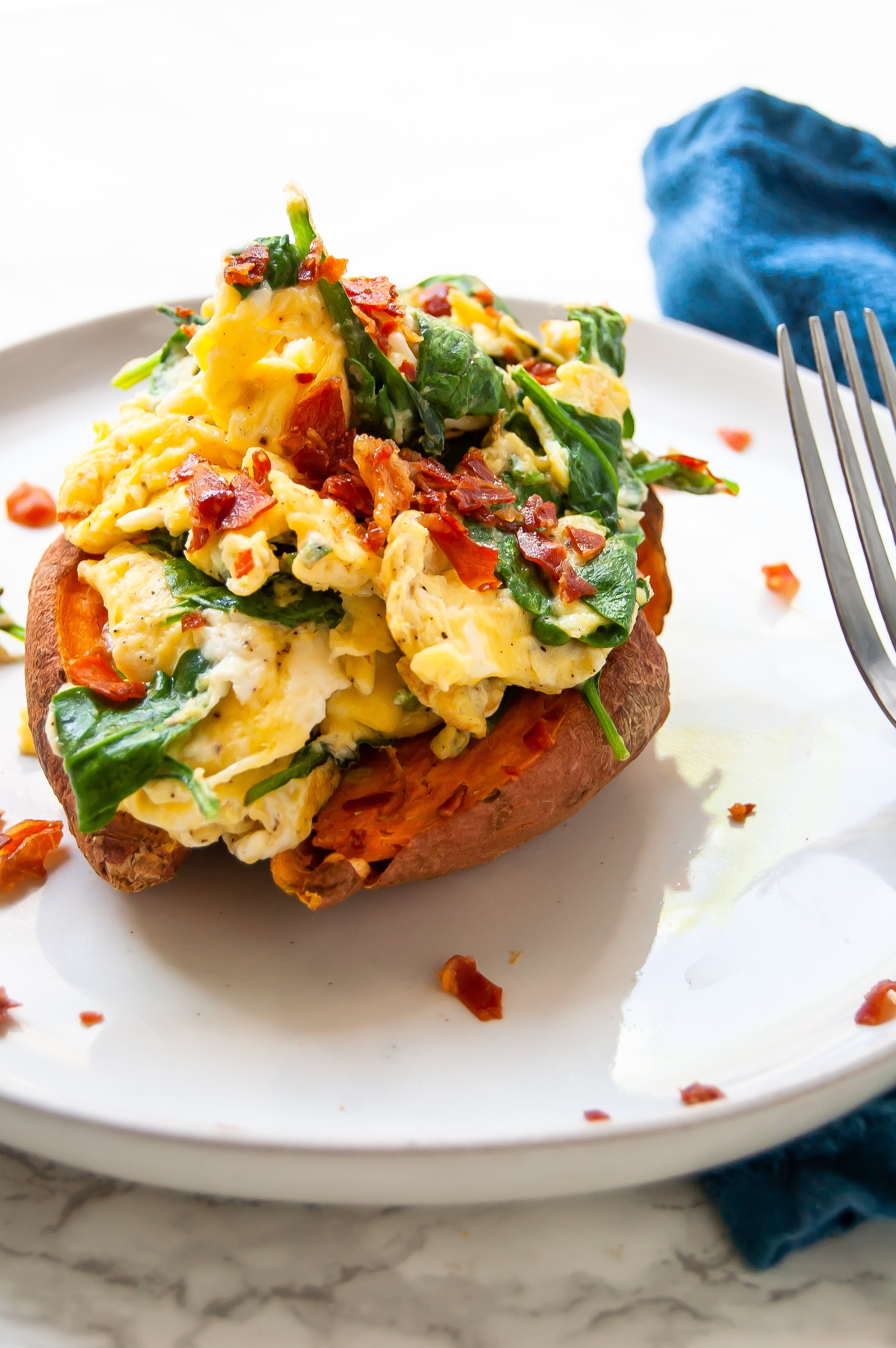 A breakfast stuffed sweet potato makes a delicious, simple, balanced, 5-minute healthy breakfast!