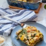 If you're a fan of healthy spaghetti squash recipes you've got to give this chicken & spinach spaghetti squash bake a try! It's creamy, gluten-free, and full of lean protein, vegetables, and flavor!