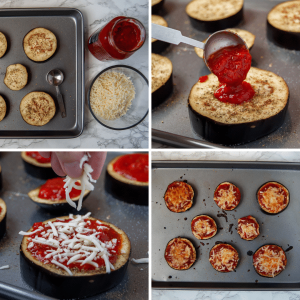 Eggplant pizzas are a healthy recipe to help you and your kids eat more vegetables! Vary the flavors with fun toppings of choice!