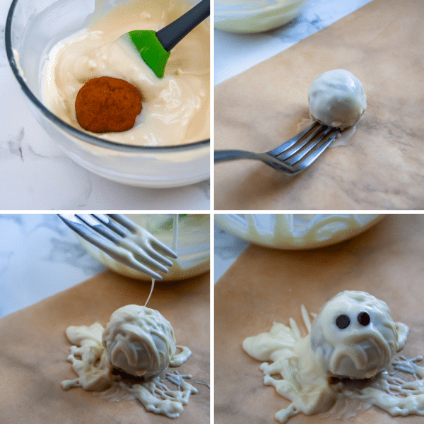 Turn collagen pumpkin protein balls into healthy Halloween treats by making them into mummy protein balls!