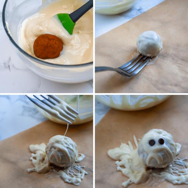 Turn collagen pumpkin protein balls into healthy Halloween treats by making them into mummy protein balls!